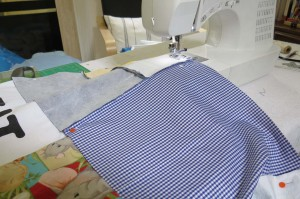 Sewing on third strip