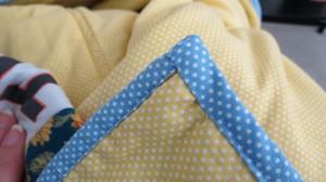 Back of hand-stitched corner