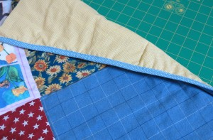 Binding stitched, view from back