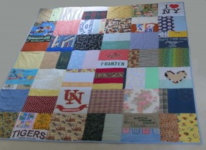 Finished quilt on floor