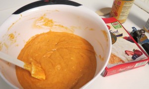 Mixing Angel Food Pumpkin Cake